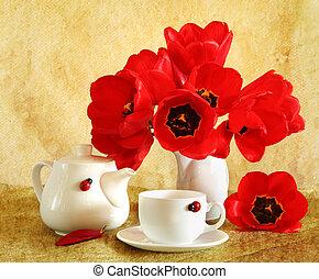 tulipanes, vida, todavía, rojo