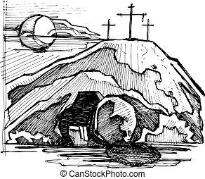tumba, cristo, vacío, jesús