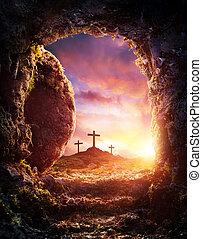 Tumba vacía, crucifixión y resurrección de Jesucristo