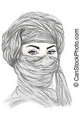 turbante, donna, araba, e, estafar, occhi, azzurri