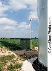 Turbina de viento, transformador y aterrizaje de torre
