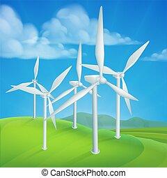 Turbinas de energía del viento generando electricidad