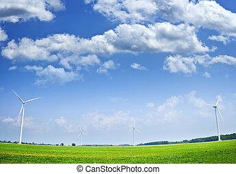 Turbinas de viento en el campo