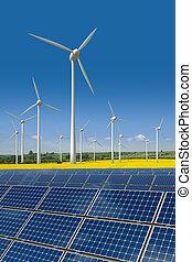 Turbinas de viento y paneles solares