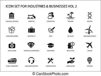 turismo, empresa / negocio, vario, el consultar, sectores, hospitalidad, construcción, agricultura, industrias, símbolos, energía, consumidor, iconos, propiedad, renovable, financiero, /, verdadero, como, servicios, servicios