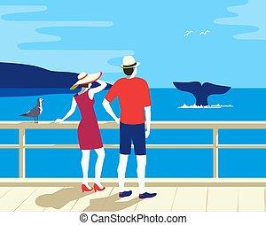 turismo, vector, el mirar de la ballena, cola, océano, plano