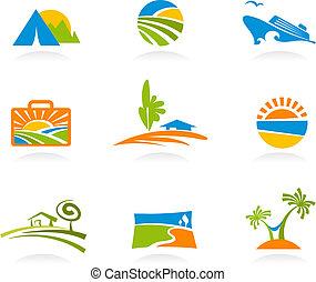 Turismo y iconos de vacaciones y logos