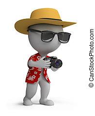 turista, gente, -, cámara, pequeño, 3d