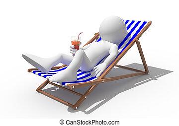 Turista tirado en una silla de cubierta