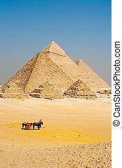 Turistas egipcios pirámides giza
