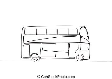turistas, gráfico, alrededor, empate, sirva, autobuses, ciudad, dibujo, solo, ir, su, línea, dinámico, el gozar, illustration., vistos, holidays., uno, diseño, doble, lado, continuo, decker, vector