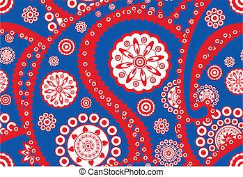 (turkish, cachemira, patrón, seamless, vector, cucumber), retro