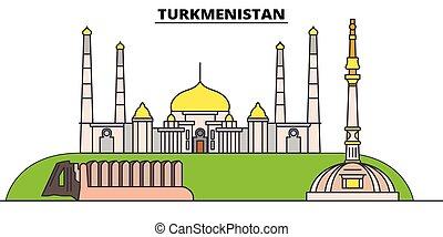 Turkmenistán plana de viaje fijada. La ilustración del vector negro de Turkmenistán, símbolo, visión de viaje, puntos de referencia.