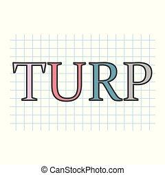 TURP (resección transuretral de la próstata) acrónimo escrito en hoja de papel a cuadros