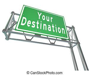 Tus palabras de destino en la autopista verde que te llevan a tu ubicación, atracción o lugar adonde has estado viajando
