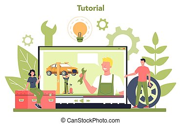tutorial., servicio, vídeo, platform., o, coche, en línea