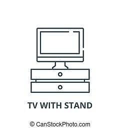 Tv con el icono de la línea vectorial, concepto lineal, signo de línea, símbolo
