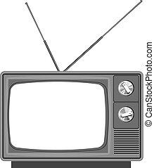 TV vieja con pantalla en blanco