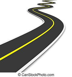twisty, 3d, rendido, illustration., road.