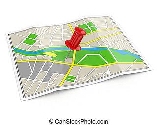 Ubicación. Mapa y tachuela. Concepto GPS.