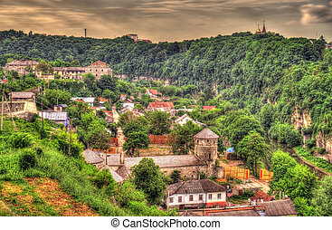 ucrania, ciudad, -, kamianets-podilskyi, vista
