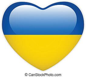 ucrania, corazón, bandera, brillante, botón