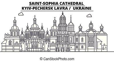Ucrania - Kyiv-Pechersk Lavra viaje por el famoso horizonte histórico, panorama, vector. Ucrania - kyiv-pechersk lavra linear ilustración