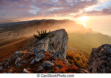 ucrania, montañas, ai-petri., alupka, crimea, salida del sol
