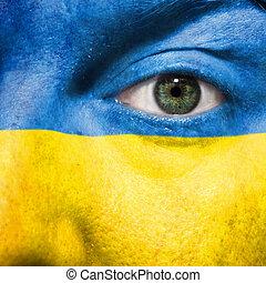 ucrania, ojo, exposición, pintado, apoyo, cara, fósforos, bandera, verde, deporte