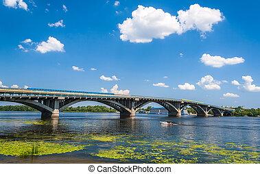 ucrania, puente, dnieper, metro, encima, kyiv, vista