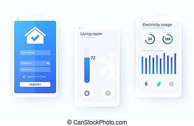 ui, elegante, móvil, casa, kit, vector, app