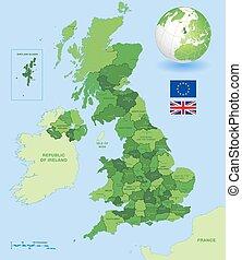Uk mapa administrativo verde fijado
