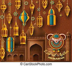 ul, árabe, linternas, adha, islámico, sacrifice., sheep., saludo, vector, fondo., illustration., fiesta, eid, card.
