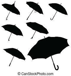 Umbrella vector de silueta negra