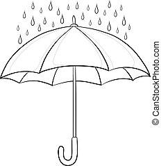 Umbrella y lluvia, contorno