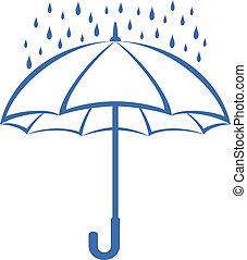 Umbrella y lluvia, pictograma