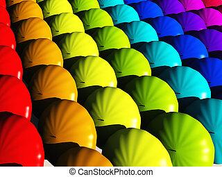 Umbrellas en colores del arco iris