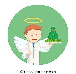 Un ángel de negocios con dinero en círculos