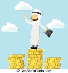 Un árabe en la cima con dinero