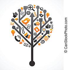 Un árbol de la red social con iconos de los medios