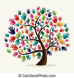 Un árbol de mano colorido solidario