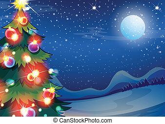 Un árbol de Navidad con pelotas brillantes