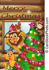 Un árbol de Navidad decorado rodeado de animales