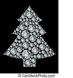 Un árbol de Navidad hecho de diamantes.