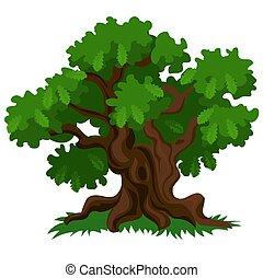 Un árbol de roble con hojas verdes y hierba fresca aislada en el fondo blanco. Ilustración de primer plano del vector.