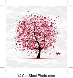 Un árbol de San Valentín con corazones para tu diseño
