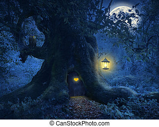 Un árbol en el bosque mágico