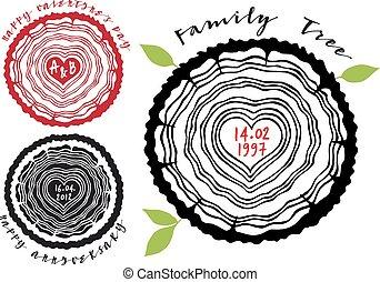 Un árbol familiar con anillos de corazón