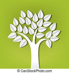 Un árbol hecho de papel cortado