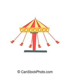 Un ícono de carrusel con asientos en cadenas en movimiento. Atracción infantil. Parque de diversiones o parque de diversiones. Diseño vectorial plano para la pancarta, poster, folleto